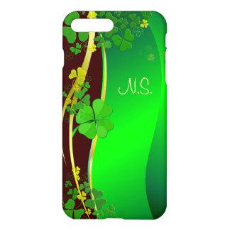 緑の幸運なシャムロックの模造のなグリッターの波 iPhone 7 PLUSケース