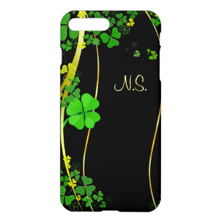 緑の幸運なシャムロックの黒の模造のなグリッターの波 iPhone 7 PLUSケース
