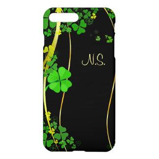 緑の幸運なシャムロックの黒の模造のなグリッターの波 iPhone 8 PLUS/7 PLUSケース