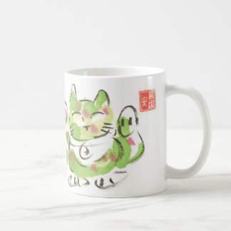 緑の幸運な猫 コーヒーマグカップ