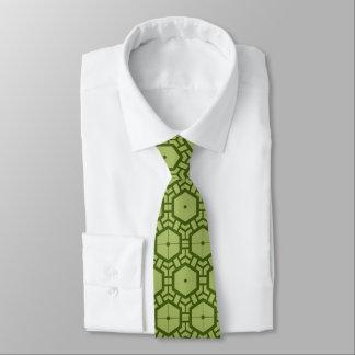 緑の幾何学的なパターンタイのパート1 ネクタイ