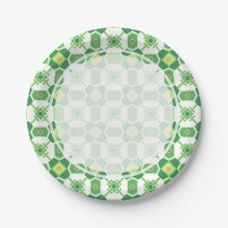 緑の幾何学的なパターン ペーパープレート