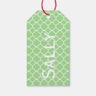 緑の幾何学的なパターンPersonnalised ギフトタグ
