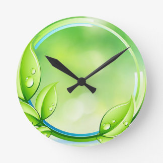 緑の庭は時計を去ります ラウンド壁時計
