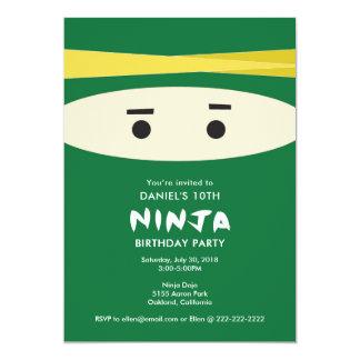 緑の忍者のパーティの招待状 カード