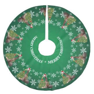 緑の愛らしく風変わりなクリスマスのキリン ブラッシュドポリエステルツリースカート