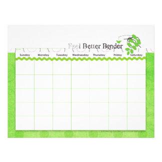 緑の感じのよりよいつなぎのカレンダーのフライヤ チラシ