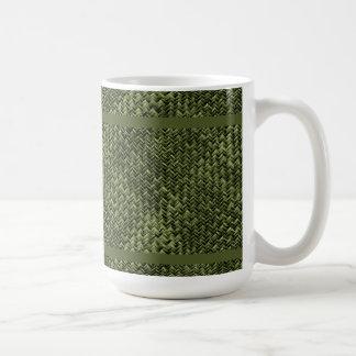 緑の斜めの斜子織幾何学的なパターン コーヒーマグカップ
