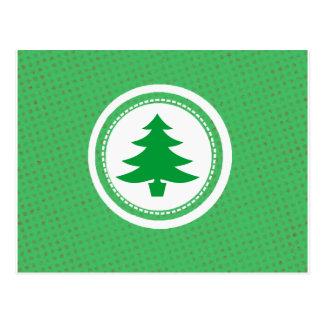 緑の木および水玉模様 ポストカード