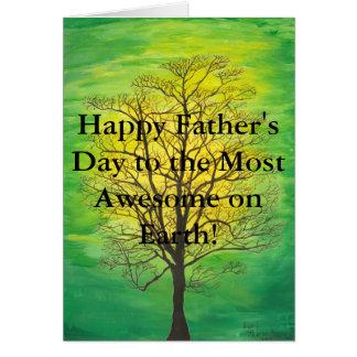 緑の木の幸せな父の日ほとんどの素晴らしい父 カード