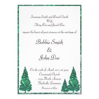 緑の木の結婚式招待状 カード