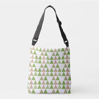 緑の木の緑葉カンランの緑の草木の三角形の幾何学的なモザイク クロスボディバッグ