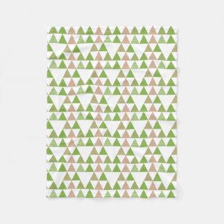 緑の木の緑葉カンランの緑の草木の三角形の幾何学的なモザイク フリースブランケット