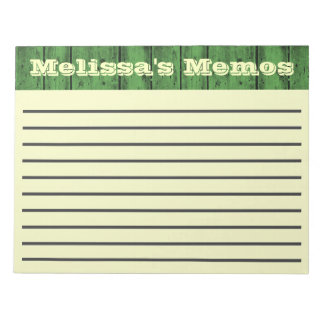 緑の木製の板の大きいメモパッド ノートパッド
