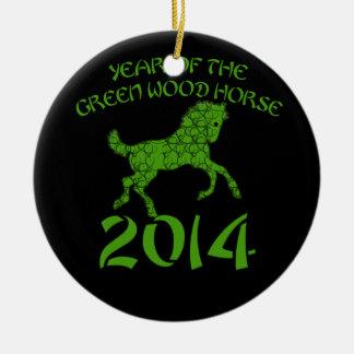 緑の木製の馬の中国のな年 セラミックオーナメント