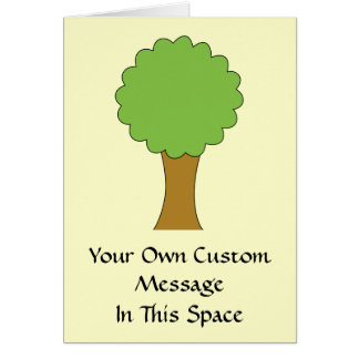 緑の木。 クリーム色の背景 カード