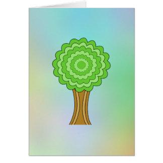 緑の木。 多彩の背景 カード