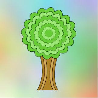 緑の木。 多彩の背景 写真彫刻バッジ