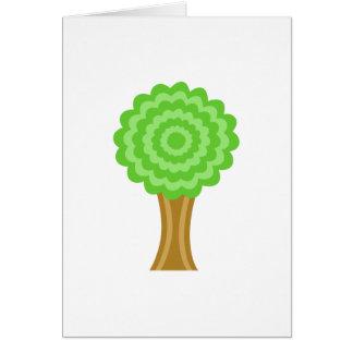 緑の木。 白い背景。 カスタム カード