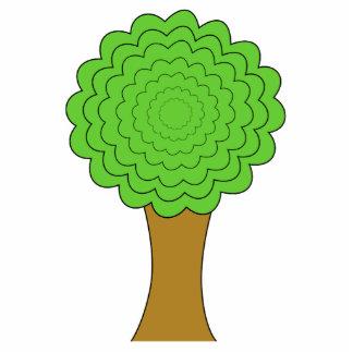 緑の木。 白い背景。 カスタム 写真彫刻バッジ