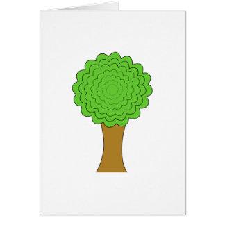 緑の木。 白い背景 カード