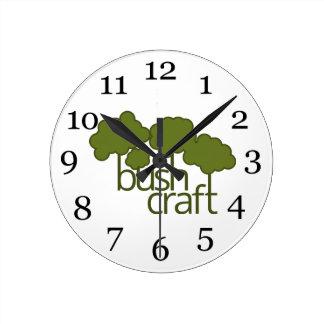緑の木、薮の技術 ラウンド壁時計