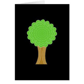 緑の木。 黒い背景 カード