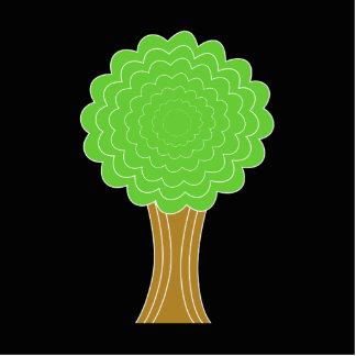 緑の木。 黒い背景 写真彫刻(台付き)