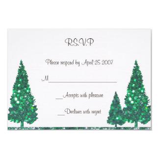 緑の木RSVPカード カード