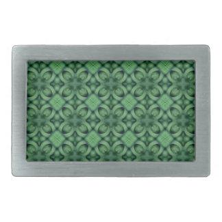 緑の格子パターン 長方形ベルトバックル