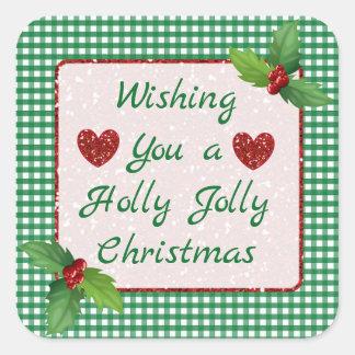 緑の格子縞のヒイラギのすてきなクリスマスのステッカー スクエアシール