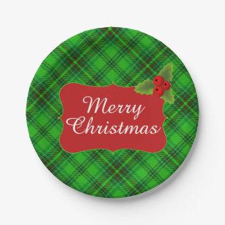 緑の格子縞のメリークリスマスのパーティ ペーパープレート