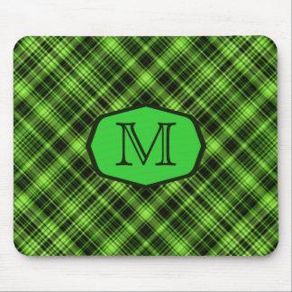 緑の格子縞の玄関ひさしのモノグラム マウスパッド