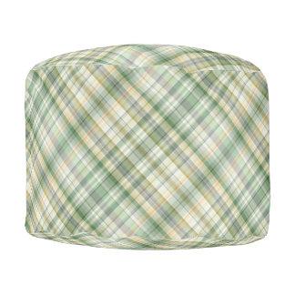 緑の格子縞パターン プーフ
