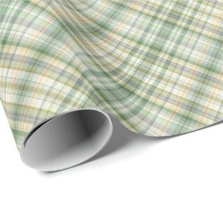 緑の格子縞パターン ラッピングペーパー
