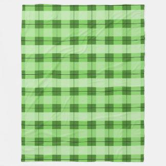 緑の格子縞2.0 フリースブランケット