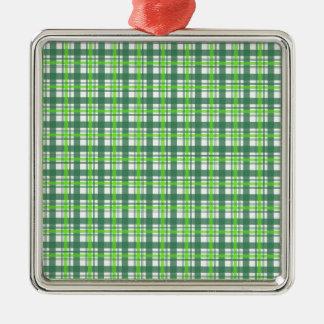 緑の格子縞 メタルオーナメント