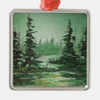 緑の森林を絵を描いているオーナメントアンヘイェズ シルバーカラー正方形オーナメント
