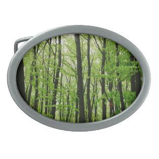 緑の森林写真撮影、自然の景色 卵形バックル