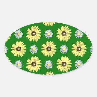緑の楕円形のステッカーのデイジーの白い黄色 楕円形シール
