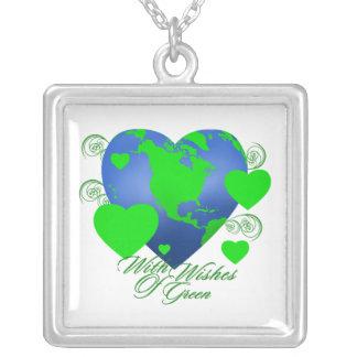 緑の正方形のネックレスの願い パーソナライズネックレス