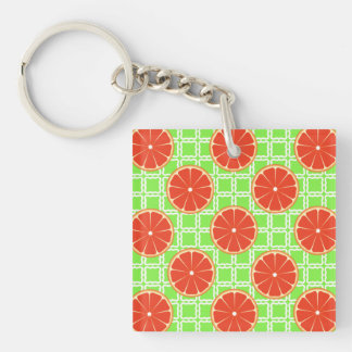 緑の正方形の明るい夏の柑橘類のグレープフルーツ キーホルダー