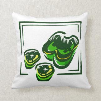 緑の正方形の緑コショウの漫画 クッション