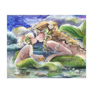 緑の母人魚そして子供 キャンバスプリント