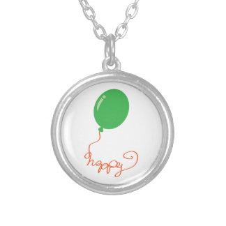 緑の気球と幸せ シルバープレートネックレス