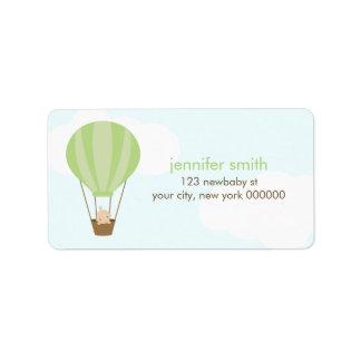 緑の気球のベビー ラベル
