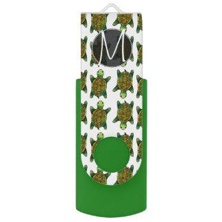 緑の水彩画のインクによって描かれるカメパターン USBフラッシュドライブ