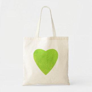 緑の水彩画のハート トートバッグ