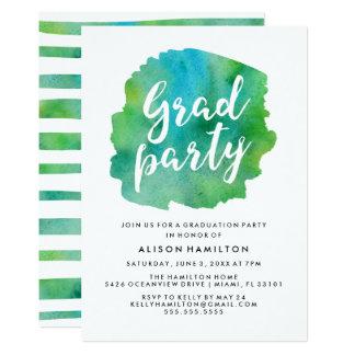 緑の水彩画の卒業パーティー 12.7 X 17.8 インビテーションカード
