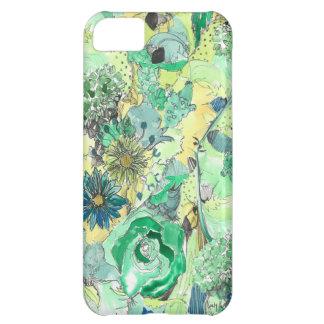 緑の水彩画は開花のiPhoneの箱をスケッチしました iPhone5Cケース